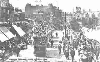 Hastings Town Hall and Decorated Tramcars 1906